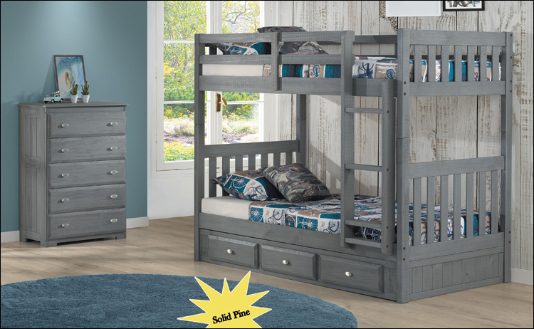 Charcoal Bunkbed Twin/Twin