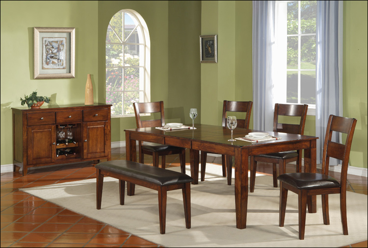 Amber Collection - Leg Table with leaf & 6 Chairs