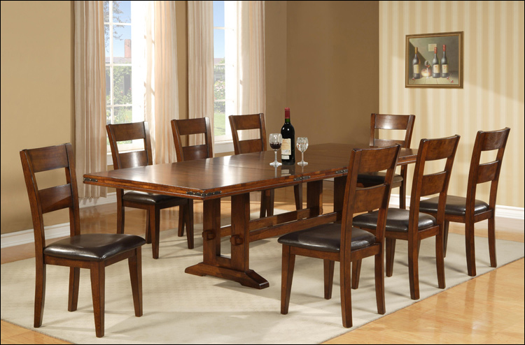 Enormous Collection - Regular Height Double Trestle Table & 6 Chairs (take out leaf)
