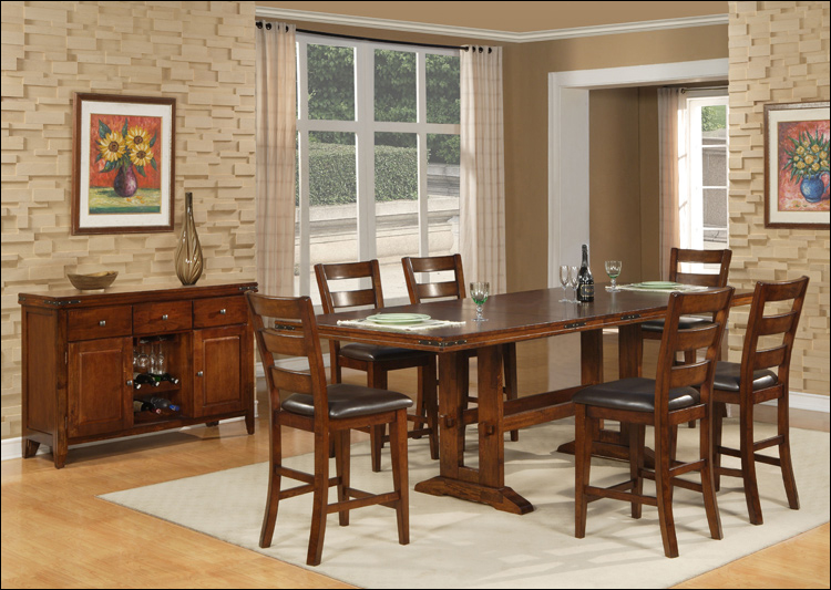 Enormous Collection - Pub Height Double Trestle Table & 6 Counter Height Chairs (take out leaf)